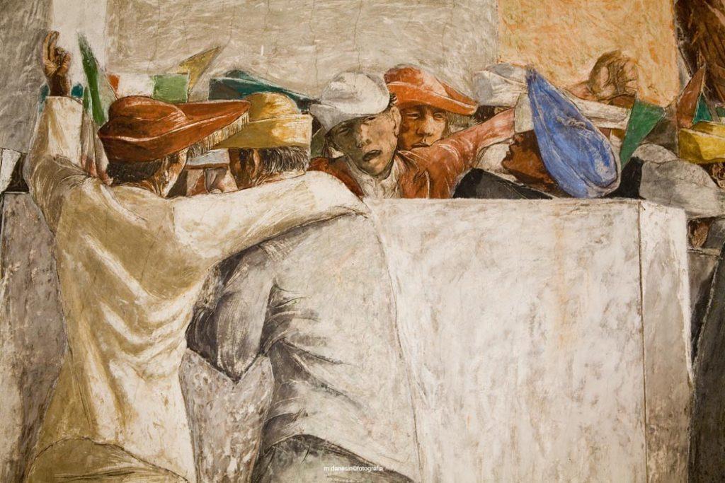 Particolare degli affreschi della Sala Basilica di Pio Casarini (tra il 1940 1 il 1942) raffigurante un particolare delle gesta della gioventù universitaria