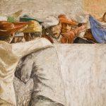 Particolare degli affreschi della Sala Basilica di Pio Casarini (tra il 1940 e il 1942) raffigurante un particolare delle gesta della gioventù universitaria