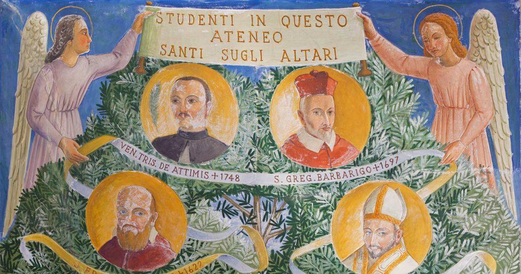 """Particolare dell'affresco """"Studenti in questo Ateneo Santi sugli altari"""" di Fulvio Pendini, Palazzo Bo"""