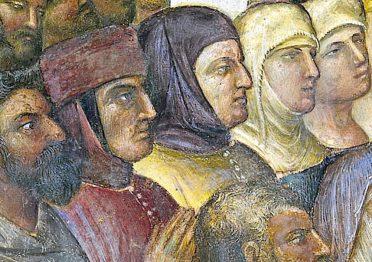 Giusto de' Menabuoi, particolare de I miracoli di Cristo nel Battistero del Duomo di Padova: Francesco I da Carrara, in rosso, è ritratto con Francesco Petrarca e la moglie Fina Buzzaccarini