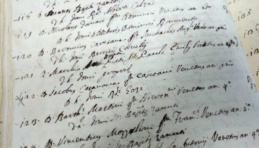 """29 novembre 1737: il nome di Giacomo Casanova compare sulla lista degli scolari """"leggisti"""""""