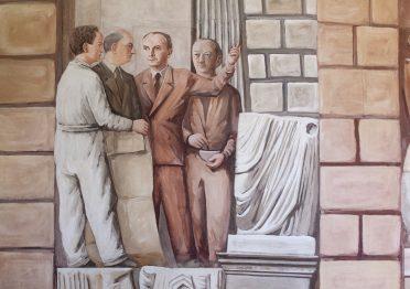 Massimo e Giuditta Campigli con il rettore Carlo Anti e l'architetto Gio Ponti - Palazzo Liviano