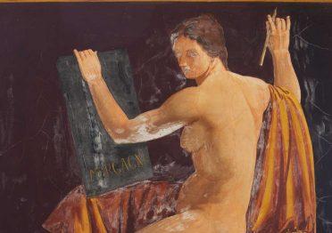 """Achille Funi, """"La Fama scrive il nome di Morgagni nel libro della storia"""", Sala di Medicina, Palazzo Bo"""