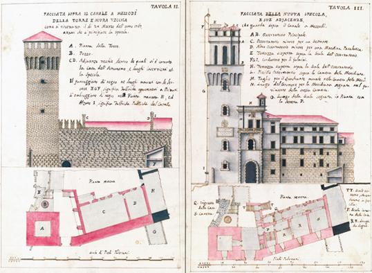 Tavole di stato di fatto e di progetto degli allievi della scuola di architettura pratica di Domenico Cerato
