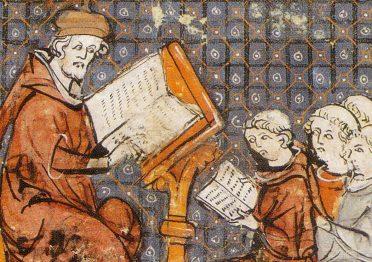 Lezione di Filosofia. Miniatura dalle Grandes chroniques de France, fine XIV secolo, Castres, biblioteca municipale
