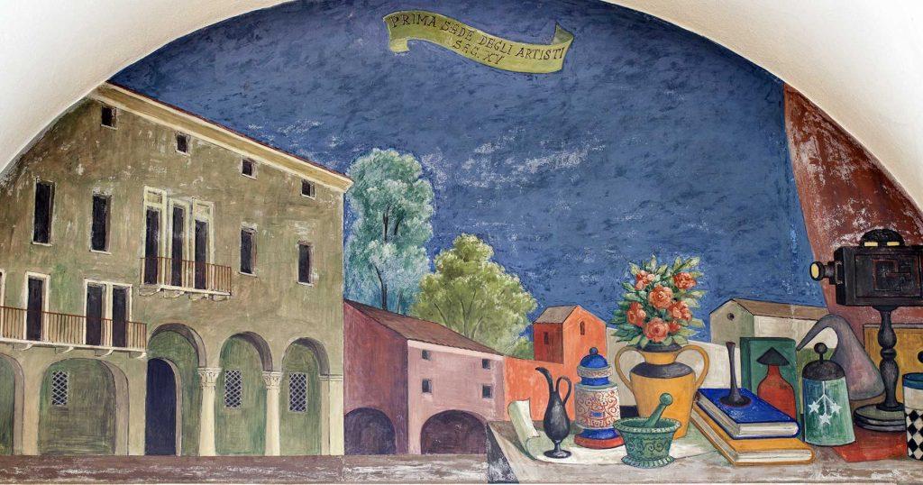 """Fulvio Pendini, """"Prima sede degli Artisti"""", lunetta affrescata, Palazzo Bo"""
